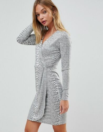 French Connection Argent Jacquard Wrap Over Robe Taille 6-16