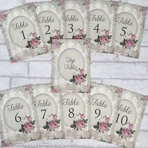 Set Of Vintage Wedding Table Number Cards 1-10 & Top Table Shabby ...