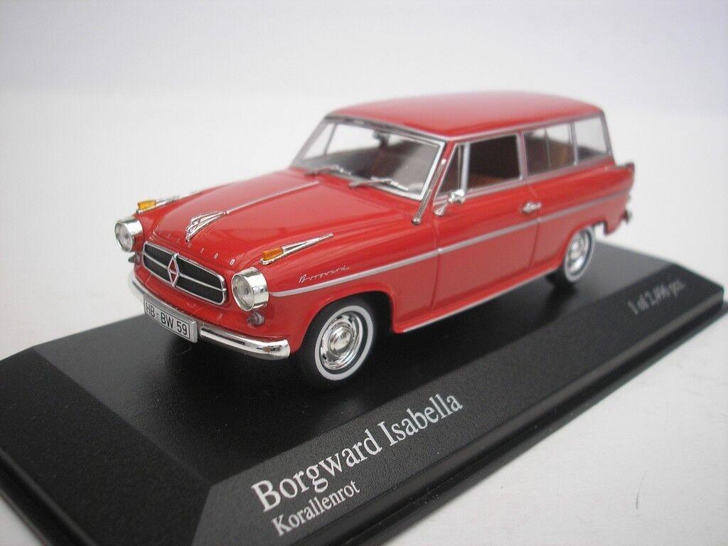 Borgward Isabella Break 1958 Coral Red 1 43 Minichamps 400096010