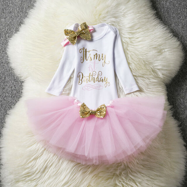 Kids Baby Girl 1st First Birthday Set Tutu Cake Outfits Winter Long