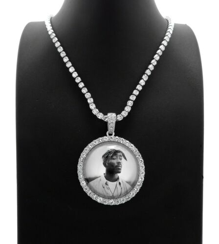 """2Pac Picture Frame Pendant /& 16/"""" 18/"""" 20/"""" Iced Rhinestone Chain Fashion Necklace"""