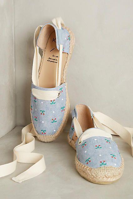 Anthropologie KMB 8 Espadrilles 9 Shoes Ankle Tie Espadrilles 8 Cherry Cotton Canvas 38 39 NIB 3ce3c9
