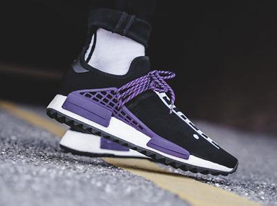 sale retailer 59cdd 6d0fa Adidas Pharrell Williams Human Race Holi NMD MC Equality Black Purple  AC7033   eBay
