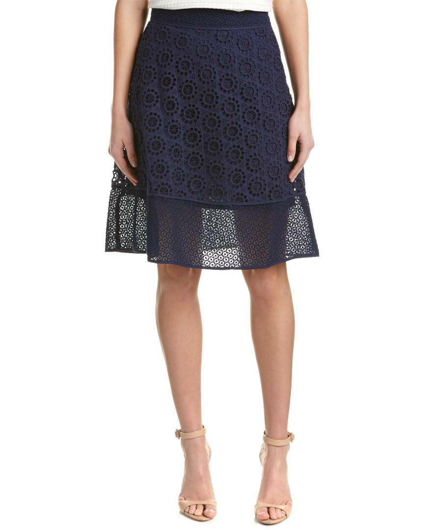 335 TRINA TURK Women's NAVY blueE COTTON ZIP CredCHET DESHA A-LINE PIPED SKIRT 4