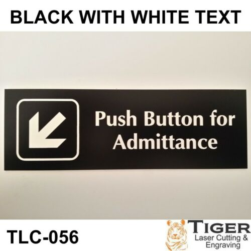PUSH BUTTON FOR ADMITTANCE WITH LEFT POINT DOWN ARROW SIGN 20CM X 6CM