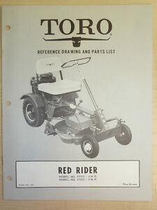 Details about 1962 TORO MOWER OPERATING PARTS MANUAL MODEL  RED RIDER BOOK  NO  216