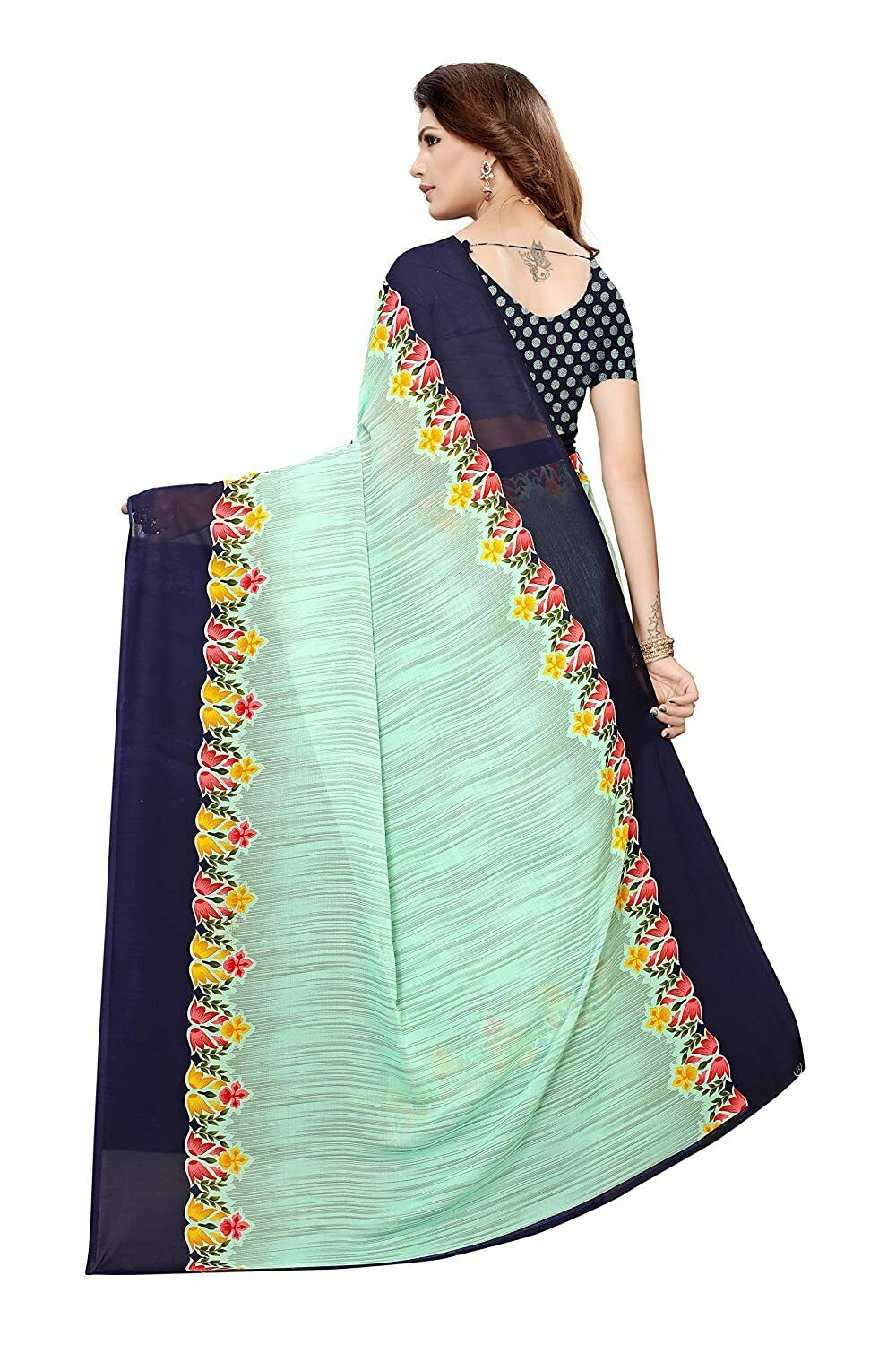 Women's Sea Green Color Georgette Floral Printed Saree with Blouse Piece
