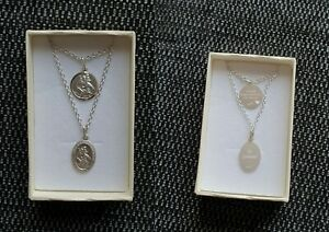 925-Sterling-Silver-St-Christopher-Pendant-amp-Chain-Necklace-Engraving-on-back
