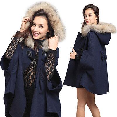 Damen Kapuze Mantel Hood Parka Pullover Jacke Trenchcoat Umhang Mantel