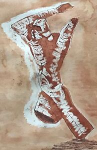 Vtg-50s-Abstract-Sepia-Painting-Wall-Hanging-Retro-Art-Mid-Century-Modern-Signed