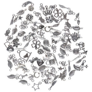 Wholesale-100pcs-Bulk-Lots-Tibetan-Silver-Mix-Charm-Pendants-Jewelry-DIY