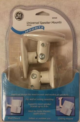 New GE Adjustable White Speaker Mount for Wall or Ceiling ships as a pair