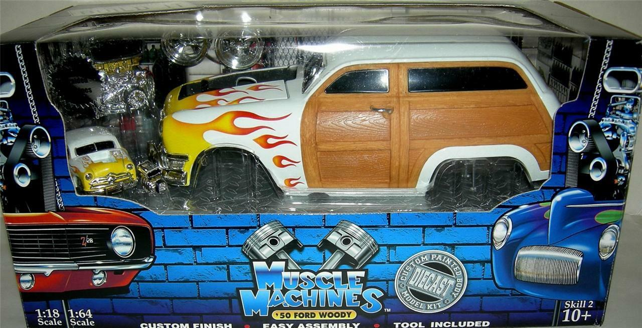 50 FORD WOODY  BUILD IT KIT WHITE WITH FLAMES   VERY RARE  1 18 SC. RARE