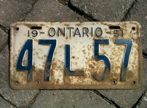 Vintage 1951 Ontario ON Canada Vehicle License Plate White Blue  ~ POOR 47 L 57