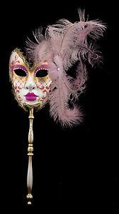 Maschera Di Venezia Per Bastone Piume Struzzo Rosa-Carnevale venitien-2226 TG5