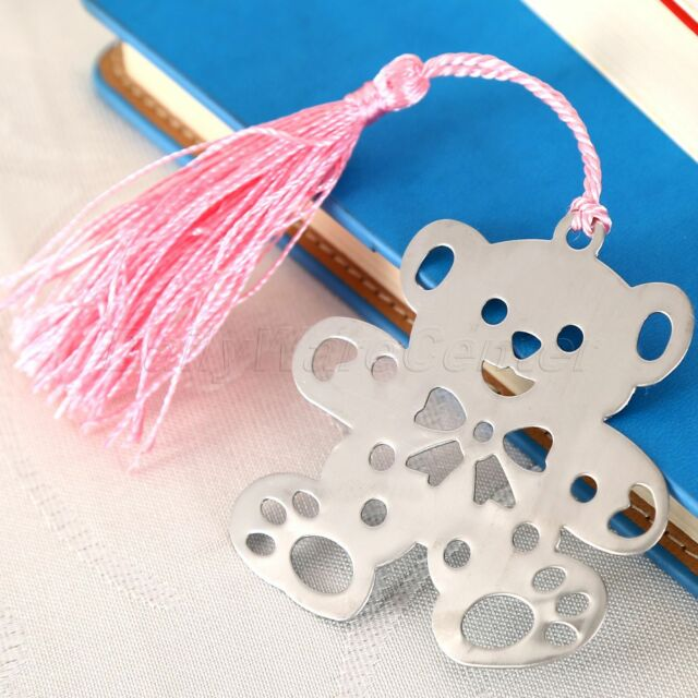 Pink Tassels Cute Bear Shaped Stainless Steel Bookmarks Exquisite Ribbon Gifts