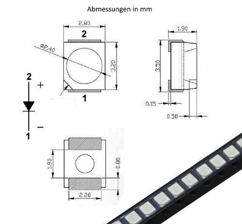 S184-50 Stück SMD LED PLCC-2 3528 rot LEDs 1210 red