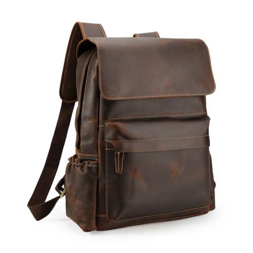 """Vintage Men Leather Backpack 16/"""" Laptop School Bag Hiking Travel Camping Satchel"""