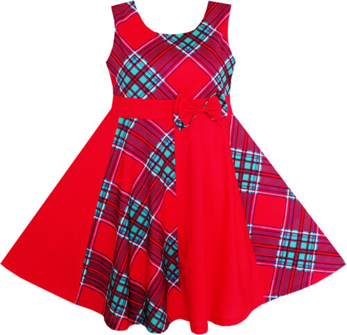 Sunny Fashion Girls Red Checkered Contrast Dress Party Sundress Age 7-14 Years