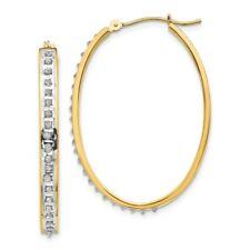 Diamond Fascination 14k Gold Hinged Hoop Earrings For Sale Online Ebay