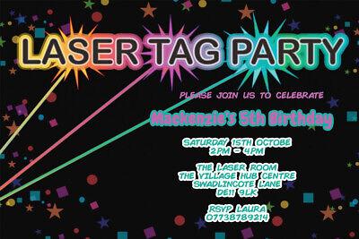 Personalised Laser Tag Quasar Birthday Invitations iIcluding Envelopes LT1