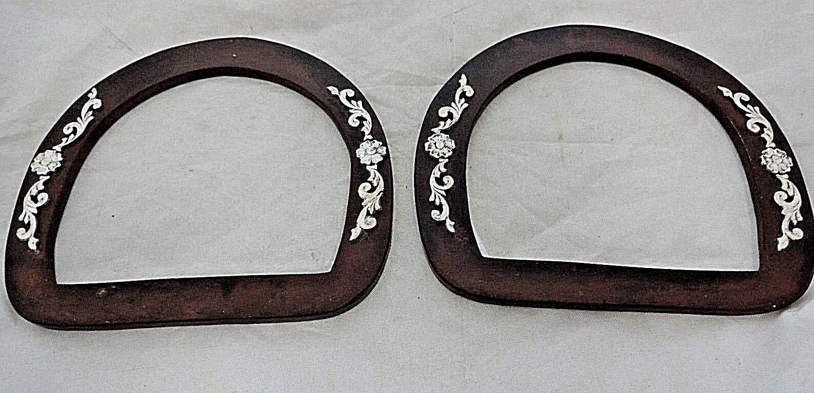 Pair Saddle Dees braun Iron Silber Overlay Hansen Western Gear Horse Tack 3  New