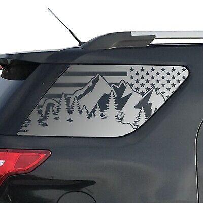 Custom Design QR8-TT2.A Rear Door Windows USA Flag w//Mountain Peak Scene Decals For 2005-2015 Toyota Tacoma