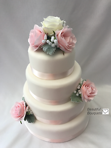 Details About Rose Silk Flowers Cake Topper Wedding Bouquets Ivory Pink Wand Brides Bridesmaid