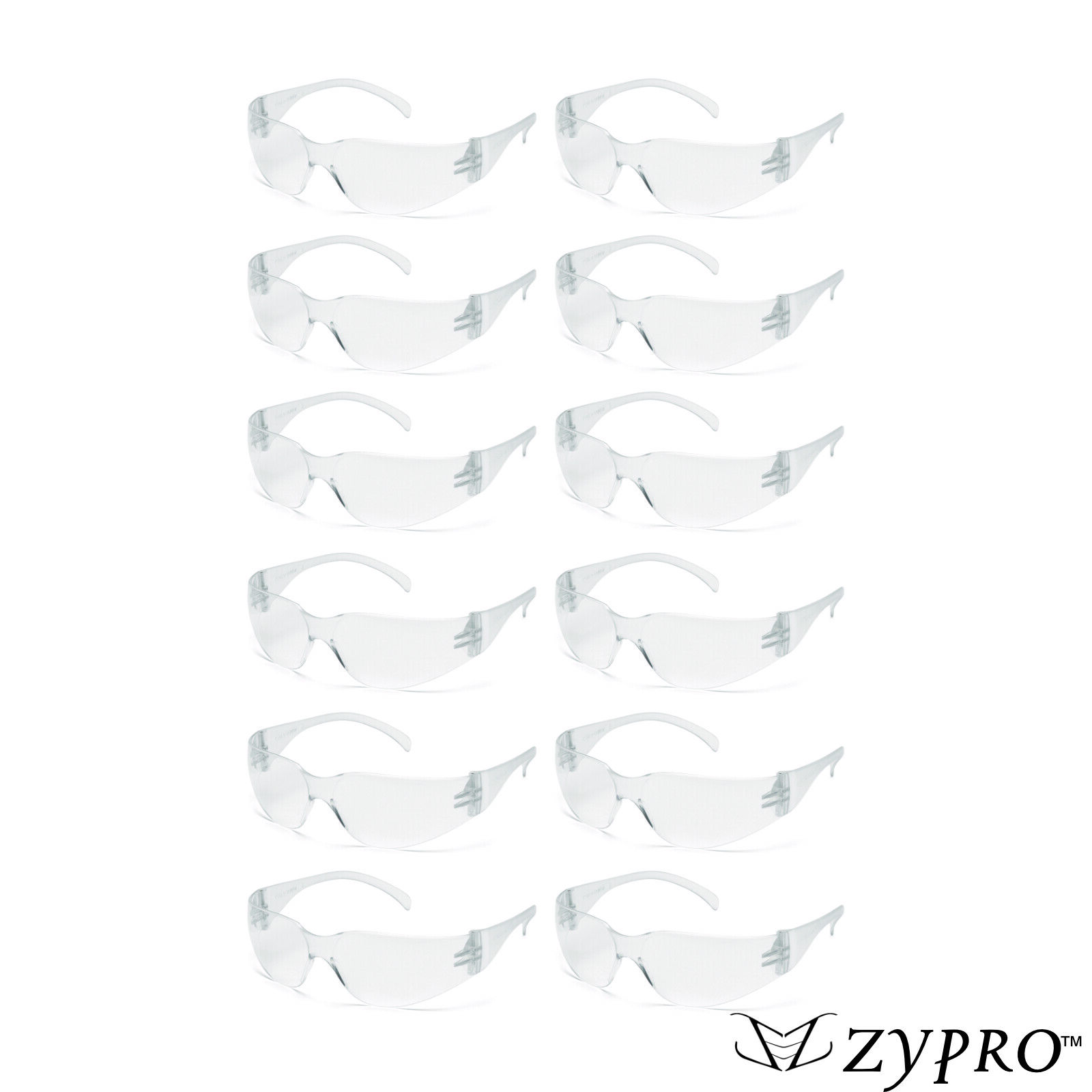 12 PAIR PACK Safety Glasses Protective Clear Lens Work UV ANSI Z87 Lot of 12