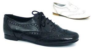 Senoras-Para-Mujer-Chicas-Escuela-zapato-bajo-de-cuero-Oxford-de-encaje-vintage-Chatos-Bombas-Tamano