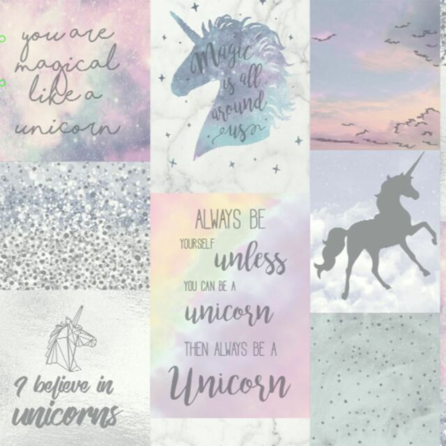 Believe IN Unicornios con Purpurina Papel Pintado Metálico Niña Arthouse 698300