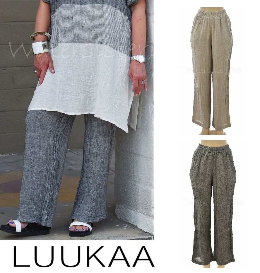LUUKAA Linen 7Y0223 Long  CONSTANCE PANT  Straight Leg (Größes 6-20) 2017 FarbeS