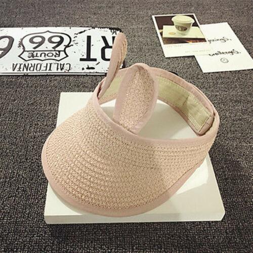 Summer Infant Baby Boy Girl Kid Folding Bunny Straw Visor Cap Adjustable Sun Hat