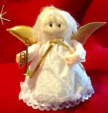 Vintage Miniature Angel Christmas Tree Topper Ornament Trumpet Styrofoam Felt