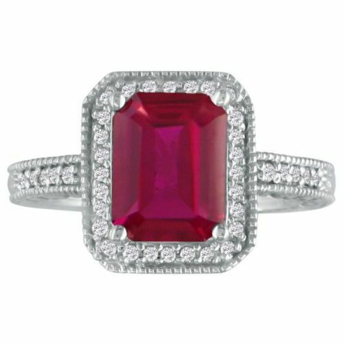 14K WHITE gold 3CT ANTIQUE STYLE RUBY AND DIAMOND RING, SIZE-8, 9
