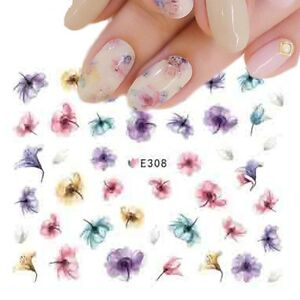 Nail-Art-Water-Decals-Stickers-Transfers-Summer-Water-Effect-Flowers-tulips-E308
