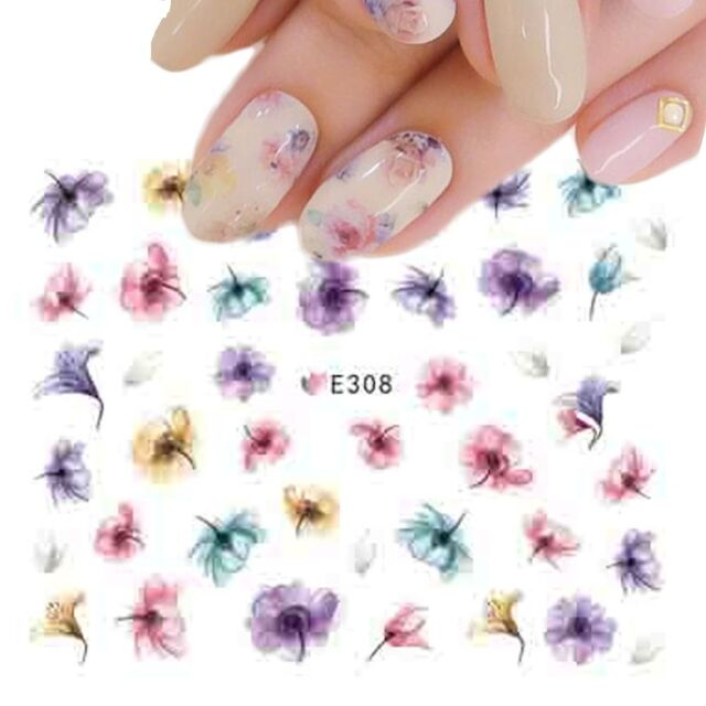 Nail Art Water Decals Stickers Transfers Summer Water Effect Flowers ...
