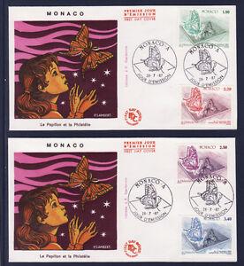 MONACO-enveloppe-1er-jour-expo-philatelique-28-07-papillons-1987