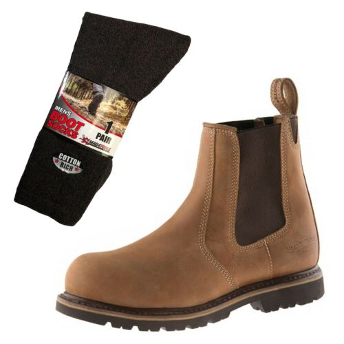 Buckler B1151SM Safety Dealer Boots Brown Sizes 6-13 /& 1 Pair of Socks