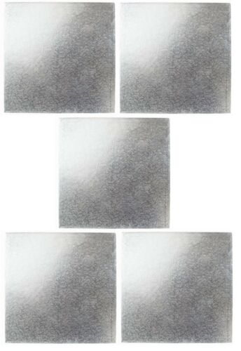 Square Cake Boards SILVER 5 Pack 16mm to 217mm 1.6mm Various Sizes