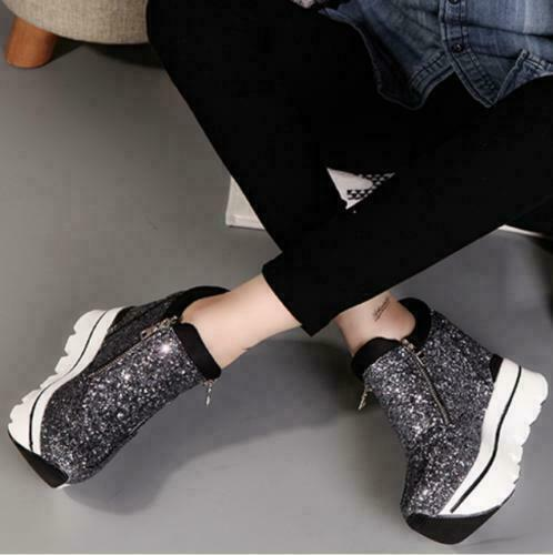 Women Sequins Wedge High Heels Shoe Pumps Lace Up Sneakers Casual Platform Zip S