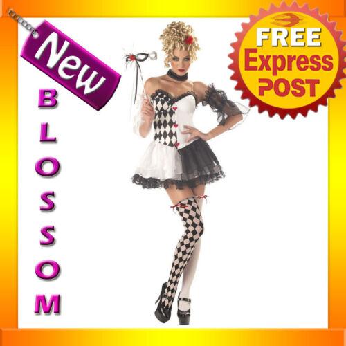 C314 Le Belle Harlequin Jester Masquerade Fancy Dress Halloween Ladies Costume