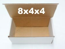 Eight White 8 X 4 X 4 Shipping Gift Storage Boxes Corrugated Mailers