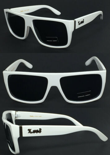 Locs Mens Cholo Biker Flat Top Sunglasses White Frame// Black Lens LC81