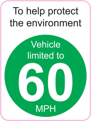 LIMITED TO 60 MPH TO HELP PROTECT THE ENVIRONMENT VAN WAGGON 120x160mm