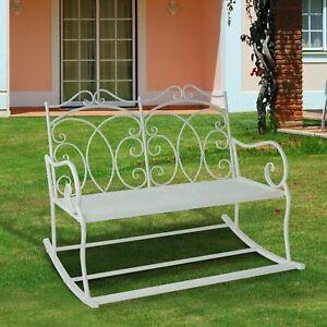 2-Seater-Metal-Garden-Bench-Outdoor-Rocking-Chair-Chic-White