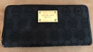 Michael-Kors-Logo-jacquard-envelope-wallet-gold-trim-bifold-womens