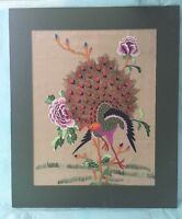 Vintage Embroidered Chinese Peacock & Floral On Silk Picture