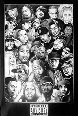 New B/&W Eminem Snoop Dogg Biggie Smalls Easy-E Ice Cube Dre Jay Z Poster Canvas