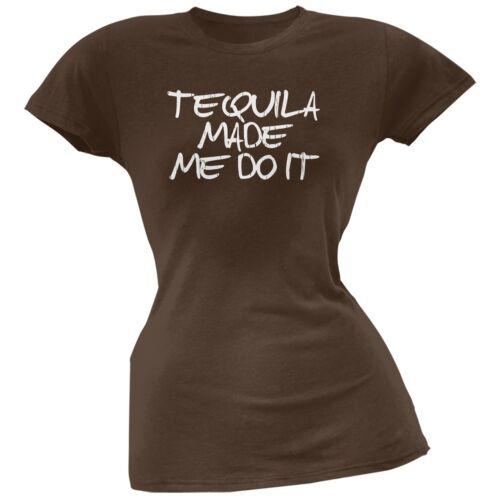 Tequila Made Me Do It Brown Soft Juniors T-Shirt Cinco de Mayo